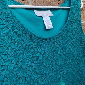 Susan Graver Tops - Susan Graver Green Lacy Sleeveless Blouse XL